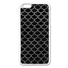 Scales1 Black Marble & Gray Leather Apple Iphone 6 Plus/6s Plus Enamel White Case