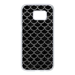 Scales1 Black Marble & Gray Leather Samsung Galaxy S7 Edge White Seamless Case