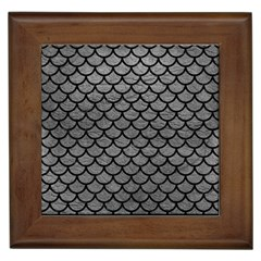Scales1 Black Marble & Gray Leather (r) Framed Tiles