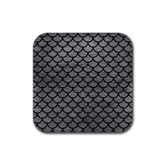 Scales1 Black Marble & Gray Leather (r) Rubber Square Coaster (4 Pack)