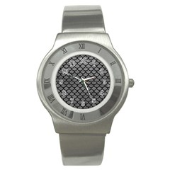 Scales1 Black Marble & Gray Leather (r) Stainless Steel Watch