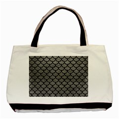 Scales1 Black Marble & Gray Leather (r) Basic Tote Bag
