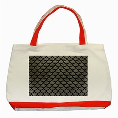 Scales1 Black Marble & Gray Leather (r) Classic Tote Bag (red)