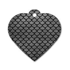 Scales1 Black Marble & Gray Leather (r) Dog Tag Heart (two Sides)