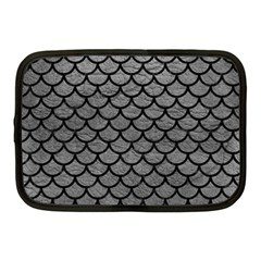 Scales1 Black Marble & Gray Leather (r) Netbook Case (medium)