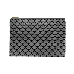Scales1 Black Marble & Gray Leather (r) Cosmetic Bag (large)