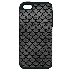 Scales1 Black Marble & Gray Leather (r) Apple Iphone 5 Hardshell Case (pc+silicone)