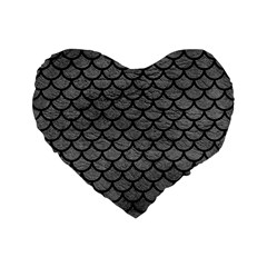 Scales1 Black Marble & Gray Leather (r) Standard 16  Premium Flano Heart Shape Cushions