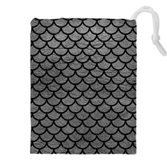 Scales1 Black Marble & Gray Leather (r) Drawstring Pouches (xxl)
