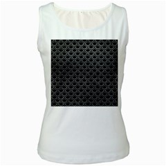Scales2 Black Marble & Gray Leather Women s White Tank Top
