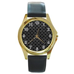 Scales2 Black Marble & Gray Leather Round Gold Metal Watch