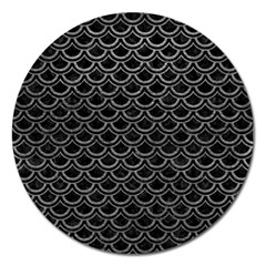 Scales2 Black Marble & Gray Leather Magnet 5  (round)