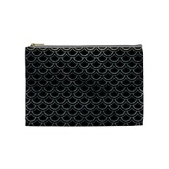 Scales2 Black Marble & Gray Leather Cosmetic Bag (medium)