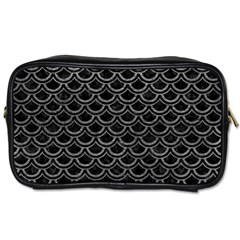 Scales2 Black Marble & Gray Leather Toiletries Bags 2 Side
