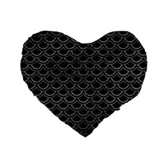 Scales2 Black Marble & Gray Leather Standard 16  Premium Heart Shape Cushions