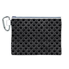 Scales2 Black Marble & Gray Leather Canvas Cosmetic Bag (l)