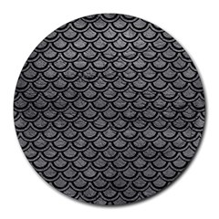 Scales2 Black Marble & Gray Leather (r) Round Mousepads