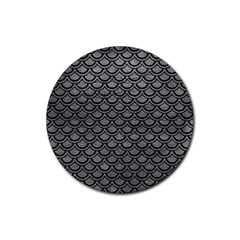 Scales2 Black Marble & Gray Leather (r) Rubber Round Coaster (4 Pack)