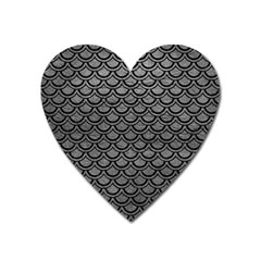 Scales2 Black Marble & Gray Leather (r) Heart Magnet