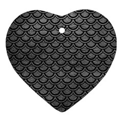 Scales2 Black Marble & Gray Leather (r) Heart Ornament (two Sides)