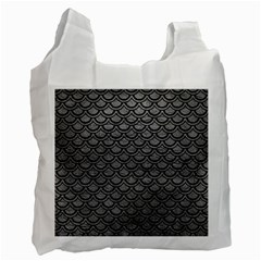 Scales2 Black Marble & Gray Leather (r) Recycle Bag (two Side)
