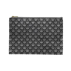 Scales2 Black Marble & Gray Leather (r) Cosmetic Bag (large)