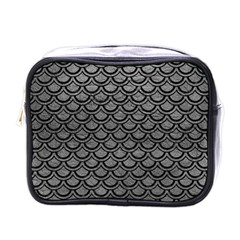 Scales2 Black Marble & Gray Leather (r) Mini Toiletries Bags