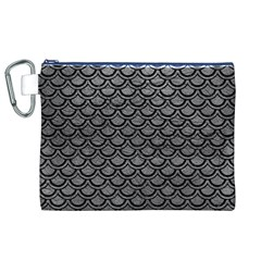 Scales2 Black Marble & Gray Leather (r) Canvas Cosmetic Bag (xl)