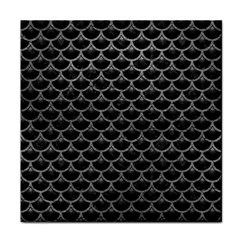 Scales3 Black Marble & Gray Leather Tile Coasters