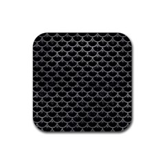 Scales3 Black Marble & Gray Leather Rubber Square Coaster (4 Pack)