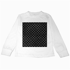 Scales3 Black Marble & Gray Leather Kids Long Sleeve T Shirts