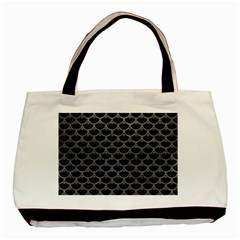 Scales3 Black Marble & Gray Leather Basic Tote Bag