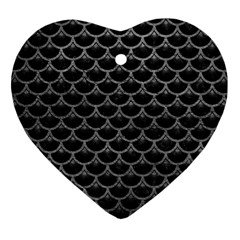 Scales3 Black Marble & Gray Leather Heart Ornament (two Sides)