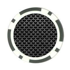 Scales3 Black Marble & Gray Leather Poker Chip Card Guard