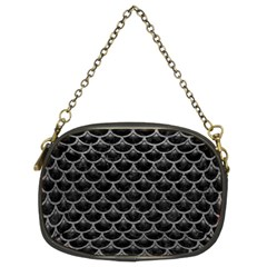 Scales3 Black Marble & Gray Leather Chain Purses (two Sides)