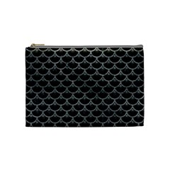 Scales3 Black Marble & Gray Leather Cosmetic Bag (medium)
