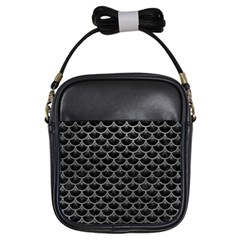 Scales3 Black Marble & Gray Leather Girls Sling Bags