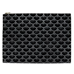 Scales3 Black Marble & Gray Leather Cosmetic Bag (xxl)