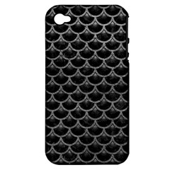 Scales3 Black Marble & Gray Leather Apple Iphone 4/4s Hardshell Case (pc+silicone)