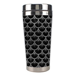 Scales3 Black Marble & Gray Leather Stainless Steel Travel Tumblers