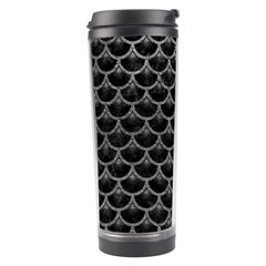 Scales3 Black Marble & Gray Leather Travel Tumbler