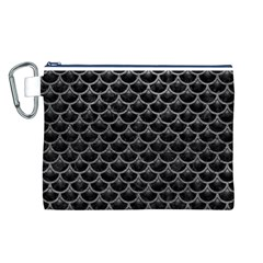Scales3 Black Marble & Gray Leather Canvas Cosmetic Bag (l)