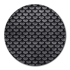 Scales3 Black Marble & Gray Leather (r) Round Mousepads