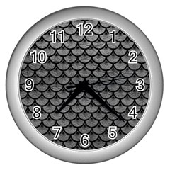 Scales3 Black Marble & Gray Leather (r) Wall Clocks (silver)
