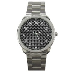 Scales3 Black Marble & Gray Leather (r) Sport Metal Watch