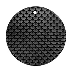 Scales3 Black Marble & Gray Leather (r) Round Ornament (two Sides)