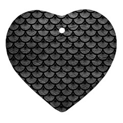 Scales3 Black Marble & Gray Leather (r) Heart Ornament (two Sides)
