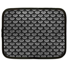 Scales3 Black Marble & Gray Leather (r) Netbook Case (large)