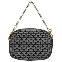 Scales3 Black Marble & Gray Leather (r) Chain Purses (two Sides)