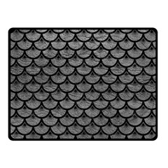 Scales3 Black Marble & Gray Leather (r) Fleece Blanket (small)